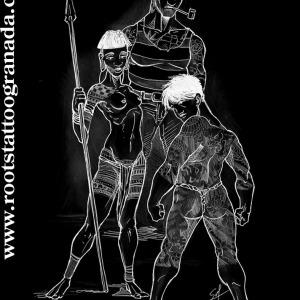 1.- INTRODUCCIÓN. Diseño de varios personajes tatuados de distintas culuras, tribal indígena, yakuza japonés y marinero americano Old School