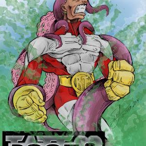 Dibujo superheroe luchando con pulpo