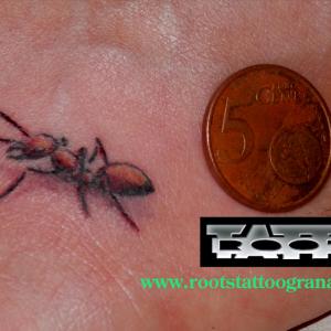 tatuaje pequeño hormiga en pie de chica