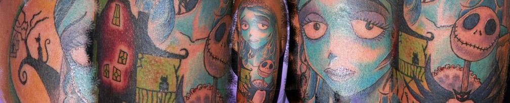 Tatuaje Tim Burton la novia cadaver pesadilla antes de navidad