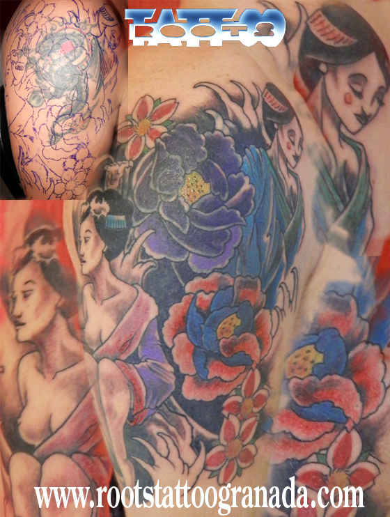 Cover-up-tatuaje-dragón-con-dos-Geishas