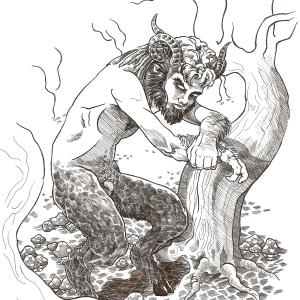 Dibujo fauno, Serafín Rabé