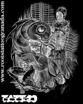 4.3.- BIOMECÁNICO. Imagen de robot ciborg y criatura, tattoo studio in Granada, Andalucía, Spain