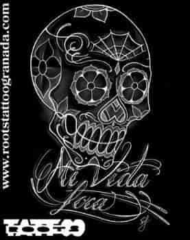 4.7.- CHICANO. Dibujo de calavera mejicana, mi vida loca, Serafín Rabé