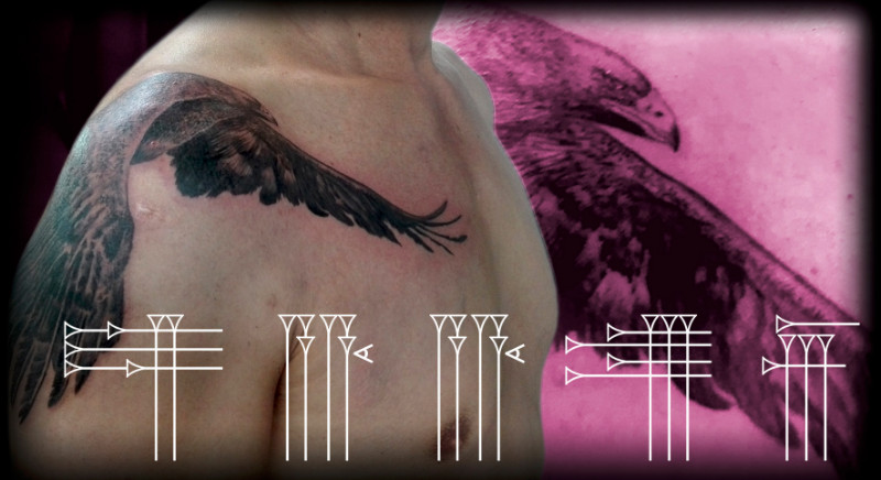 Eagle tattoo on arm and chest