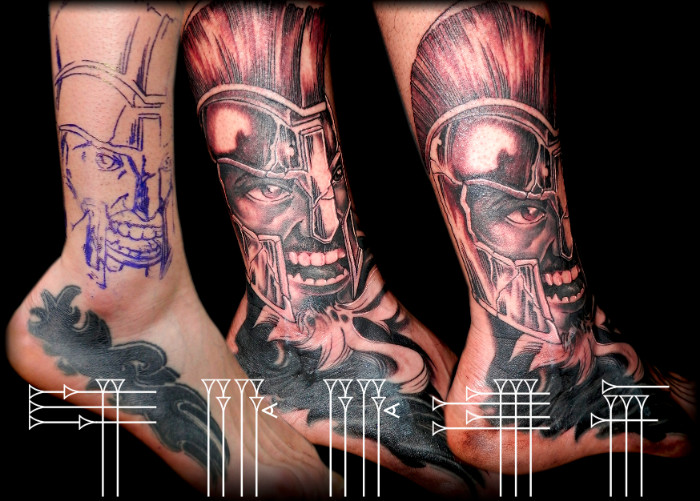 Tattoo spartan on foot
