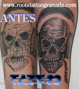 Arreglo tatuaje caravela con auriculares sombras grises, cover up tattoo, arm boy, shadows, skull, granada