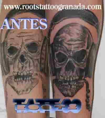 Tatuaje calavera antes y después