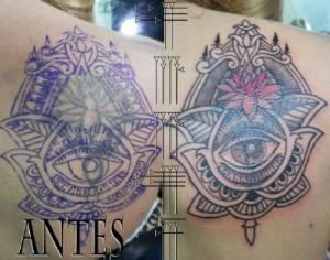 Tatuaje decorativo antes y después