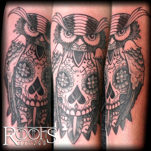 Owl mexican tattoo