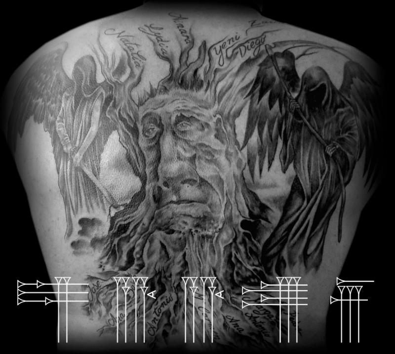 Tatuaje árbol con muerte y ángel oscuro