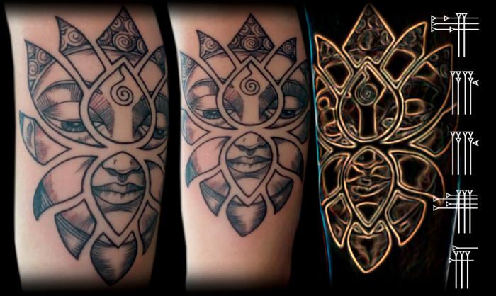Tatuaje de líneas finas y gruesas