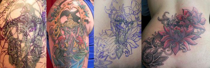 Tatuajes tapados con color