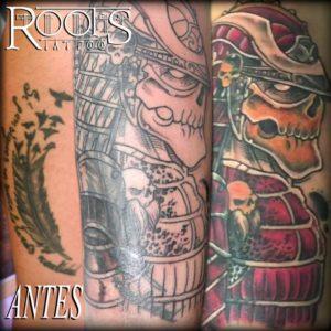 Cover-up de tatuaje en el brazo