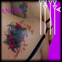 Tapado de tatuaje femenino a color