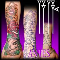 Joyero con rosa y reloj para tapar otro tatuaje