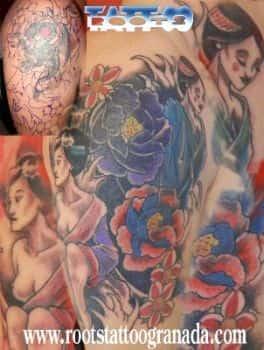 Arreglo de tatuaje con estilo japonés