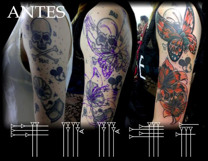 Tapado de tatuaje de calavera y gramola