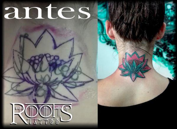 Tapado de tatuaje con flor de loto