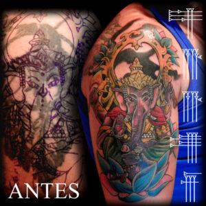 Tapado de tatuaje de indio americano con figura religiosa hindu