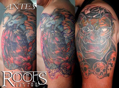 Etapas de un tapado de tatuaje muy difícil a color