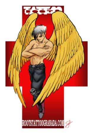 Diseño tatuajes angel alas doradas
