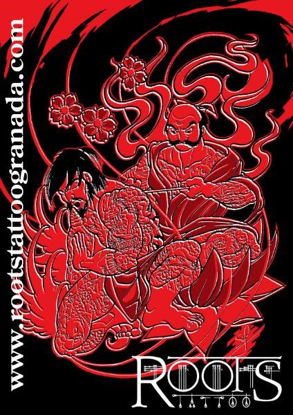 Estampa de ukiyoe tatuaje tradicional