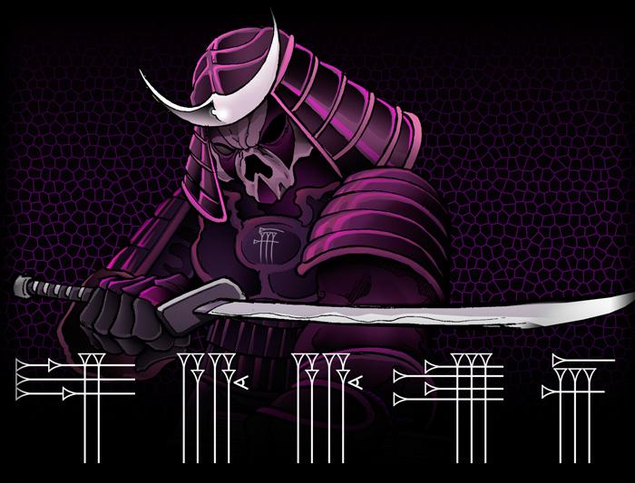 Dibujo flash estilo cómic guerrero samurai de ultratumba