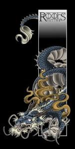 Dragón con llamas estilo japonés
