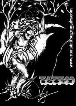 Dibujo tatuajes ent rbol con cuerpo de mujer blanco y negro