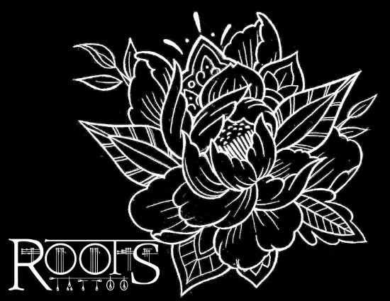 Diseño flash para tatuaje flor de loto