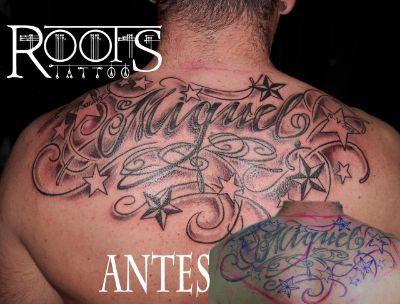 Arreglo y ampliación de tatuaje de nombre con estrellas