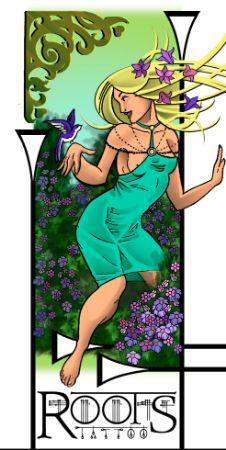 Diseño tatuaje chica entre flores con pájaro