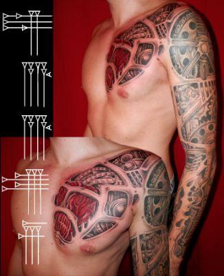 Tatuaje tuercas, cadenas y muelles