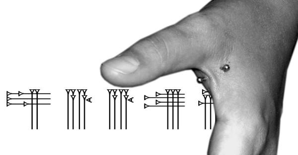 Body piercing in hand