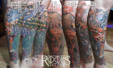 Pierna completa tatuada