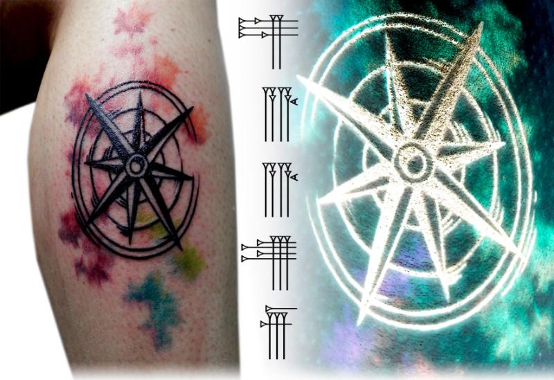 Tatuaje de brújula watercolor