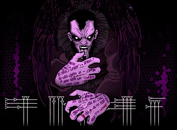 Ilustración oscura personaje con manos tatuadas