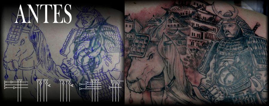 Antes y después tatuaje blanco y negro