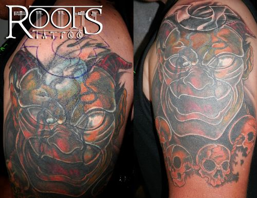 Tapado cover-up de dragones a color