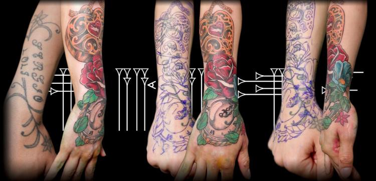 Tattoo cover in hand, Granada, Spain