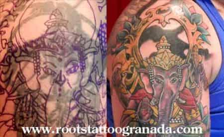 Detalle tapado de tatuaje