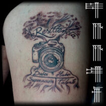 tree and camera tattoo