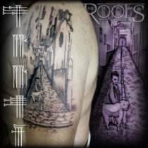 Paisaje antiguo tatuado