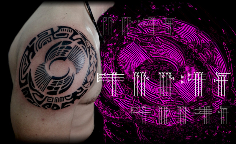 Tatuaje tribal tinta plana