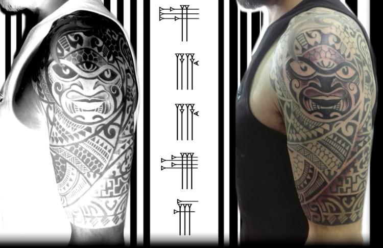 Diseño tribal del Pacífico para brazo de hombre