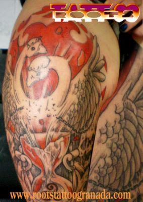 Tatuaje estilo grabado Serafín Rabé