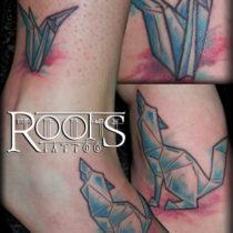 Watercolour tattoo en tobillo y pie