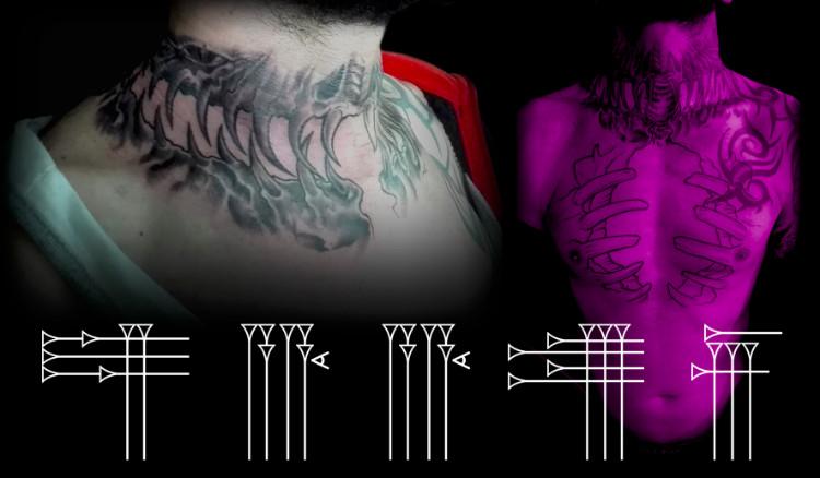 Tatuaje alrededor del cuello y el las costillas