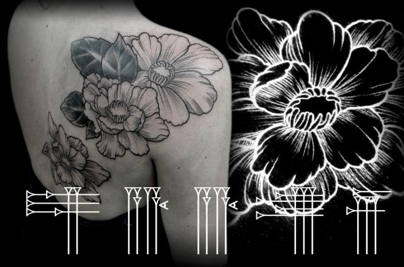 Dotwork floral con tapado de tatuaje